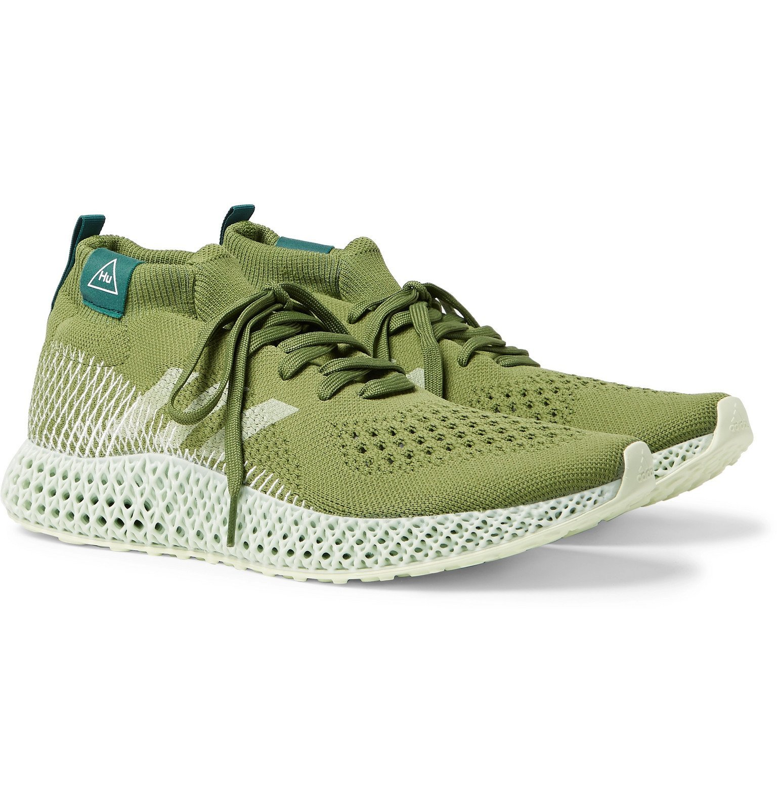 Photo: adidas Consortium - Pharrell Williams 4D Runner Embroidered Primeknit Sneakers - Green