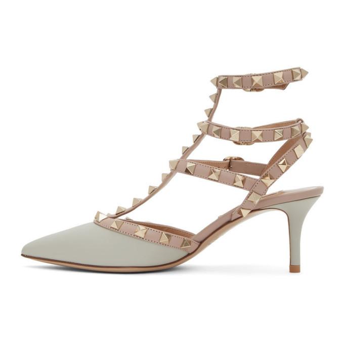 Valentino Grey and Pink Valentino Garavani Rockstud Cage Heels