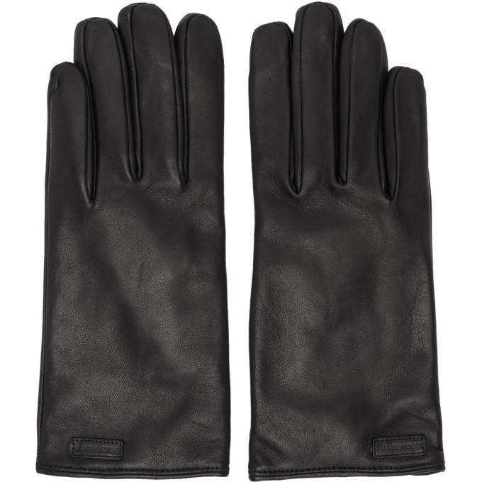 Photo: Dolce and Gabbana Black Leather Logo Gloves