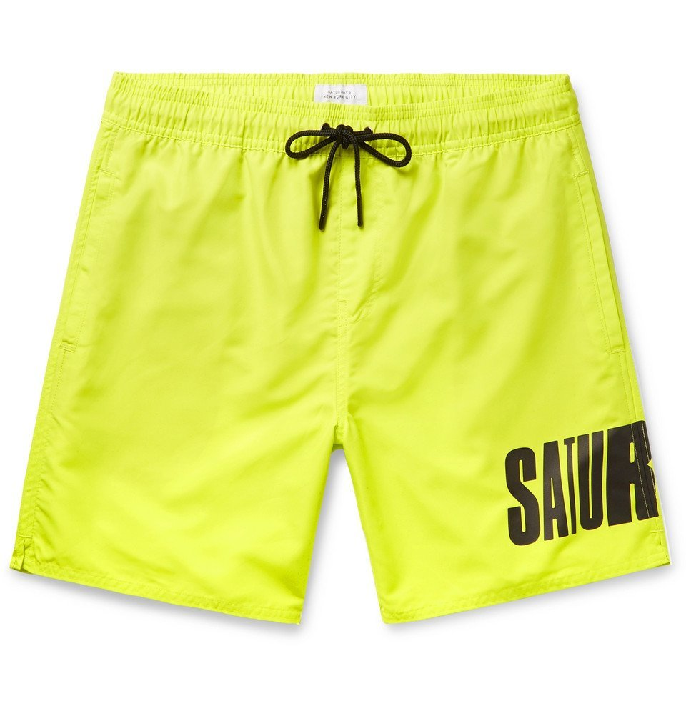Photo: Saturdays NYC - Wide-Leg Long-Length Logo-Print Swim Shorts - Chartreuse