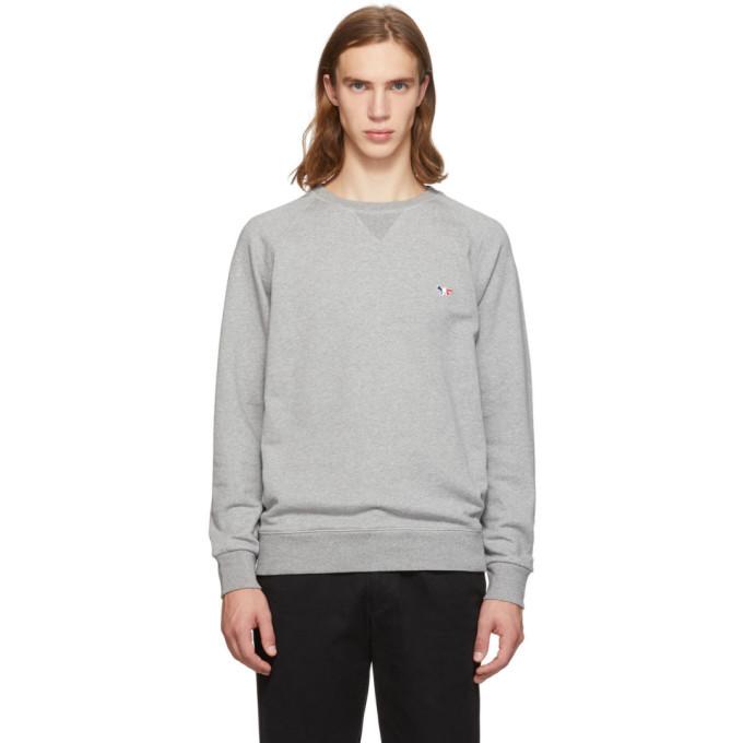 Photo: Maison Kitsune Grey Tricolor Fox Sweatshirt