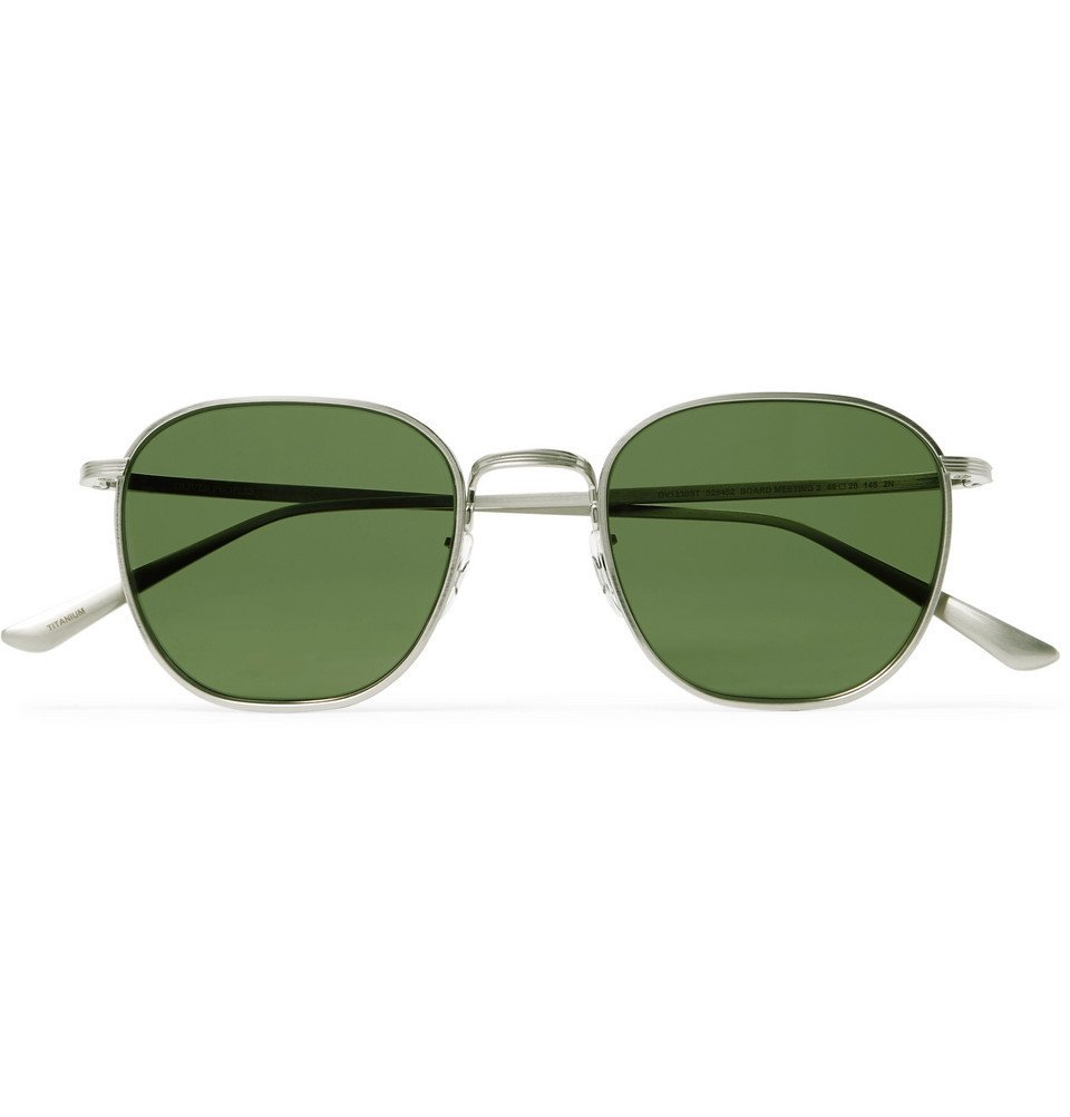 Photo: The Row - Oliver Peoples Board Meeting 2 Square-Frame Silver-Tone Titanium Sunglasses - Silver