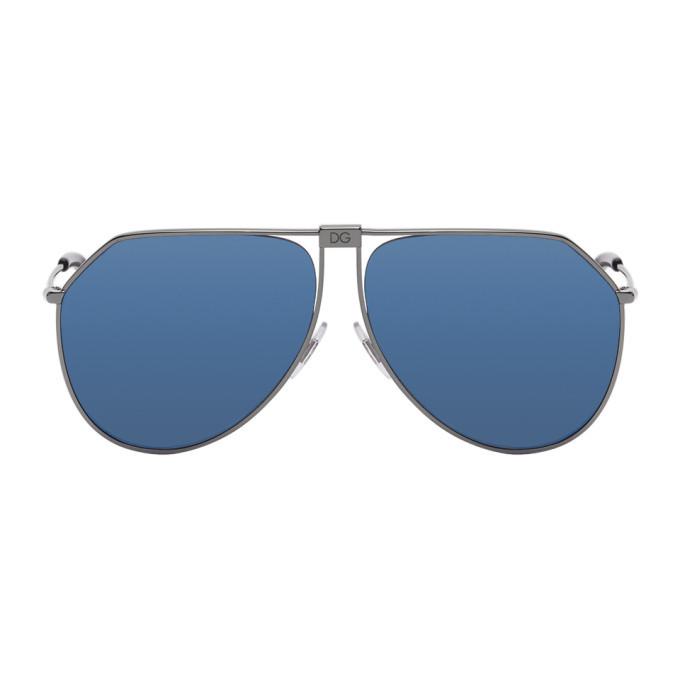 Photo: Dolce and Gabbana Black and Blue Mirror Slim Aviator Sunglasses