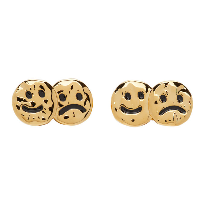 Jiwinaia Gold and Black Up and Down Earrings
