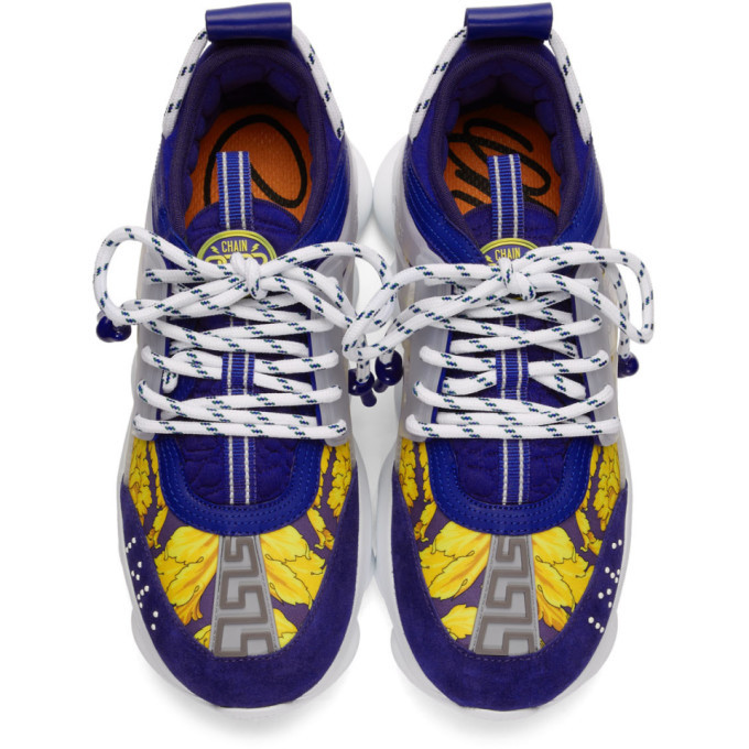 Versace Blue and Gold Heritage Crete de Fleur Chain Reaction Sneakers