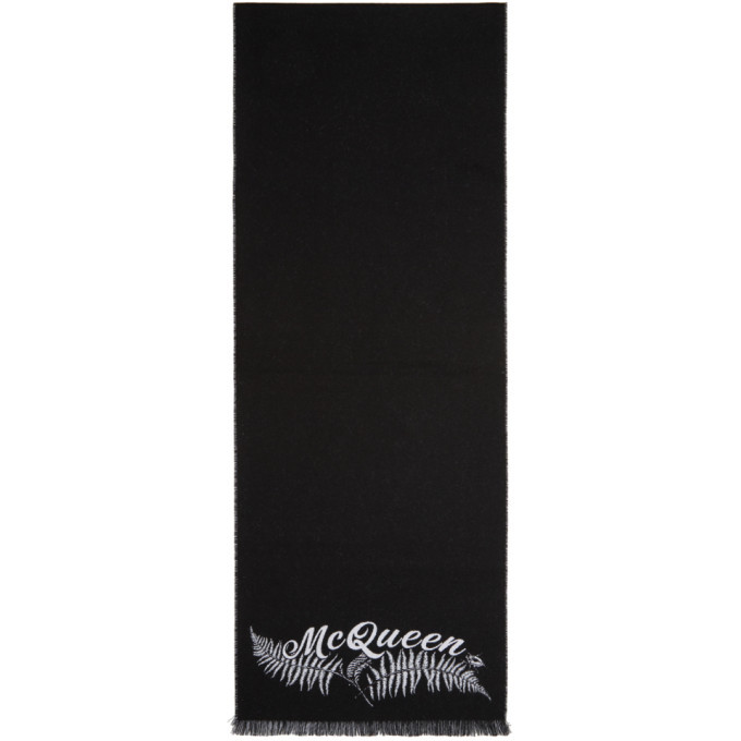 Photo: Alexander McQueen Black and Off-White Small Fern Logo Scarf