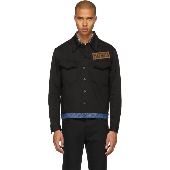 Photo: Fendi Black Retro Logo Denim Jacket