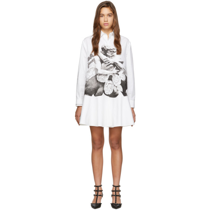 Photo: Valentino White Poplin Graphic Lovers Shirt Dress