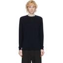 Sunspel Navy Cotton Crewneck Sweater