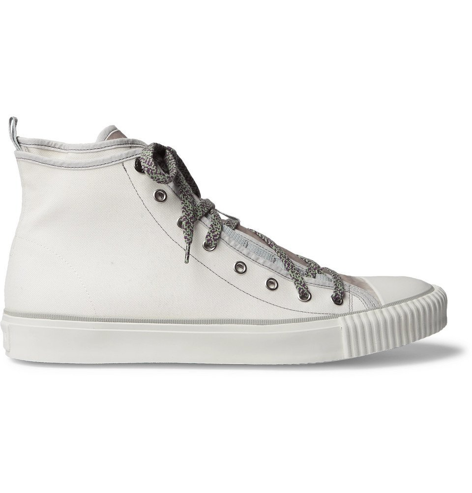 Photo: Lanvin - Canvas and Velvet High-Top Sneakers - White