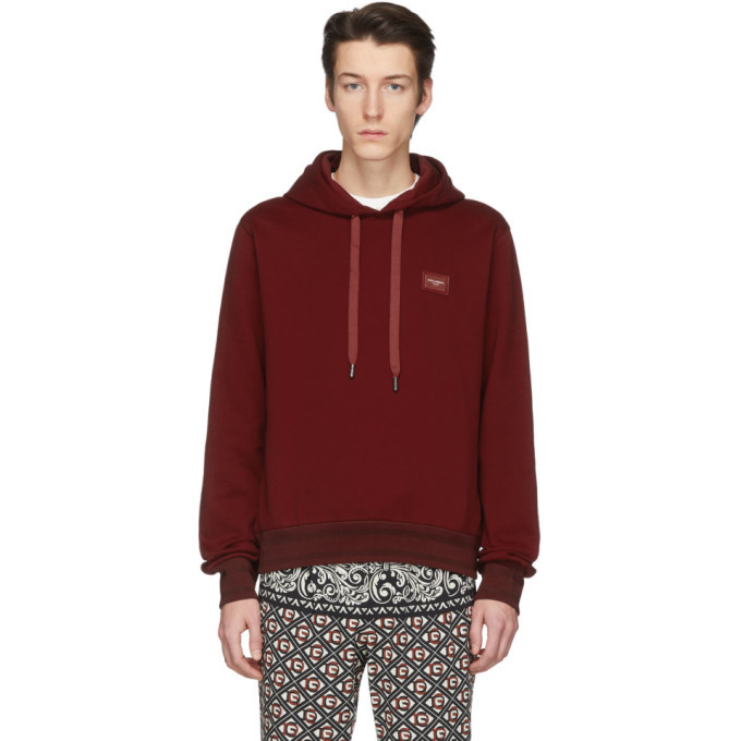 Photo: Dolce and Gabbana Red Branded Plate Hoodie