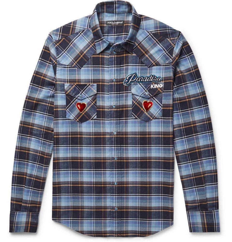 Photo: Dolce & Gabbana - Slim-Fit Appliquéd Embroidered Checked Cotton-Flannel Shirt - Men - Light blue