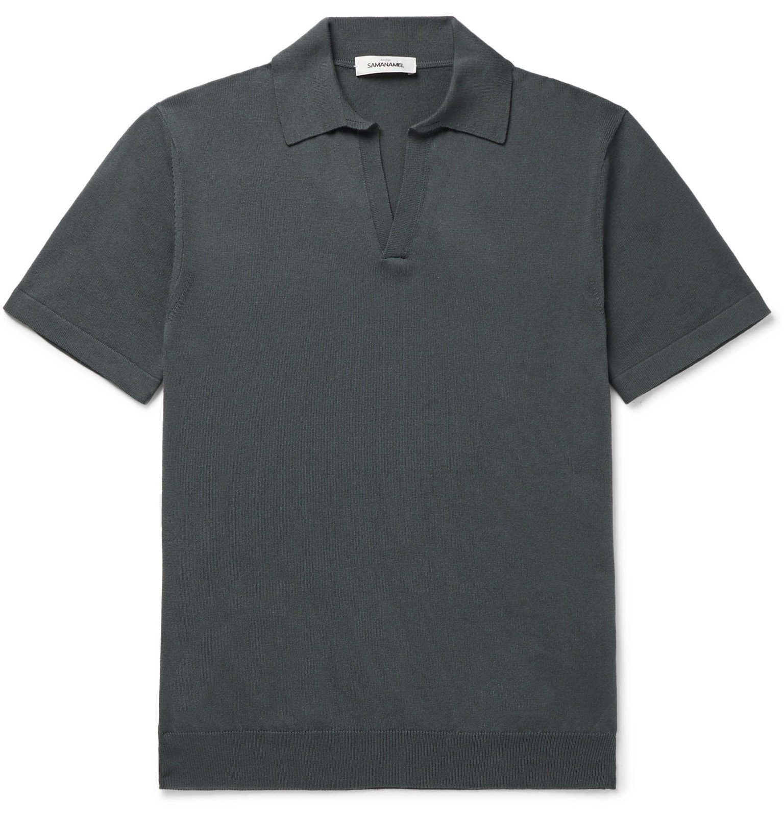 Photo: Saman Amel - Slim-Fit Mercerised Cotton and Silk-Blend Polo Shirt - Gray