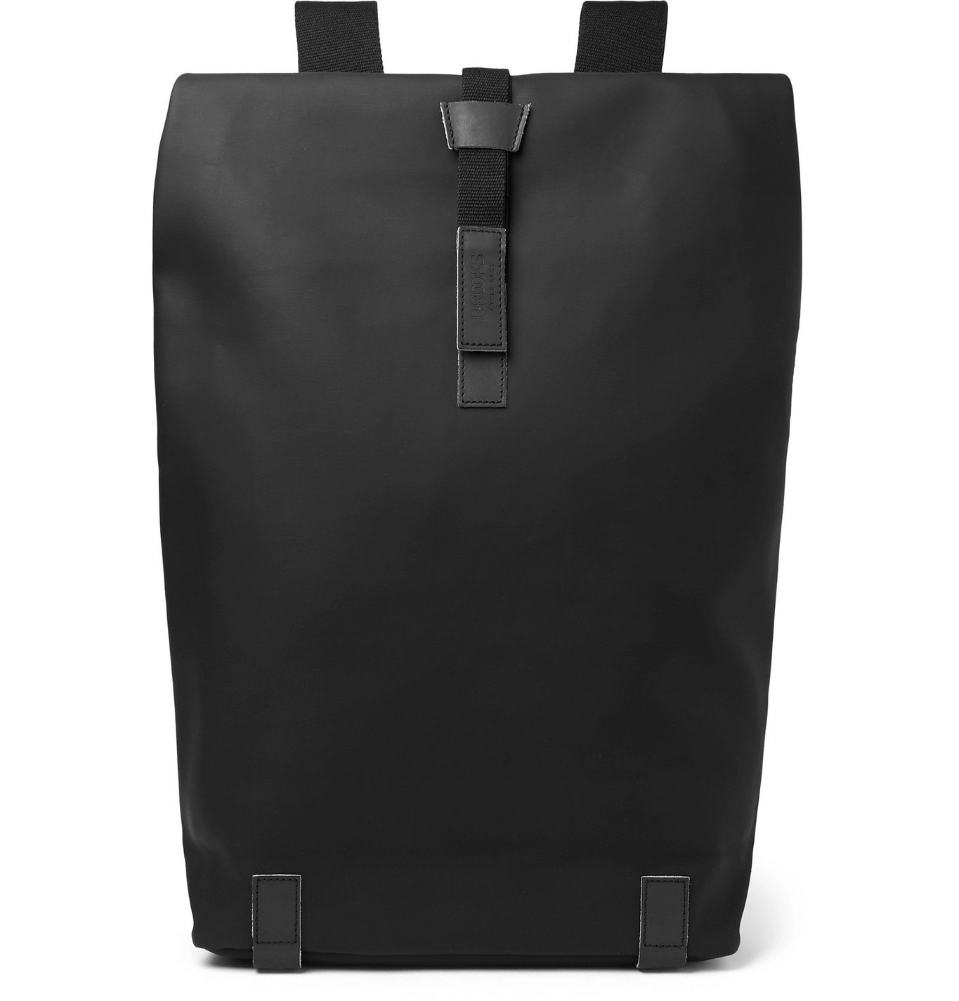 Photo: Brooks England - Pickwick Large Iridescent Leather-Trimmed Coated Cotton-Canvas Backpack - Black