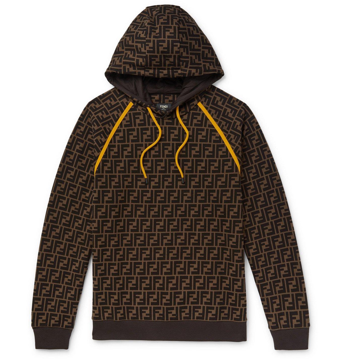 Photo: Fendi - Logo-Print Fleece-Back Cotton-Jersey Hoodie - Brown