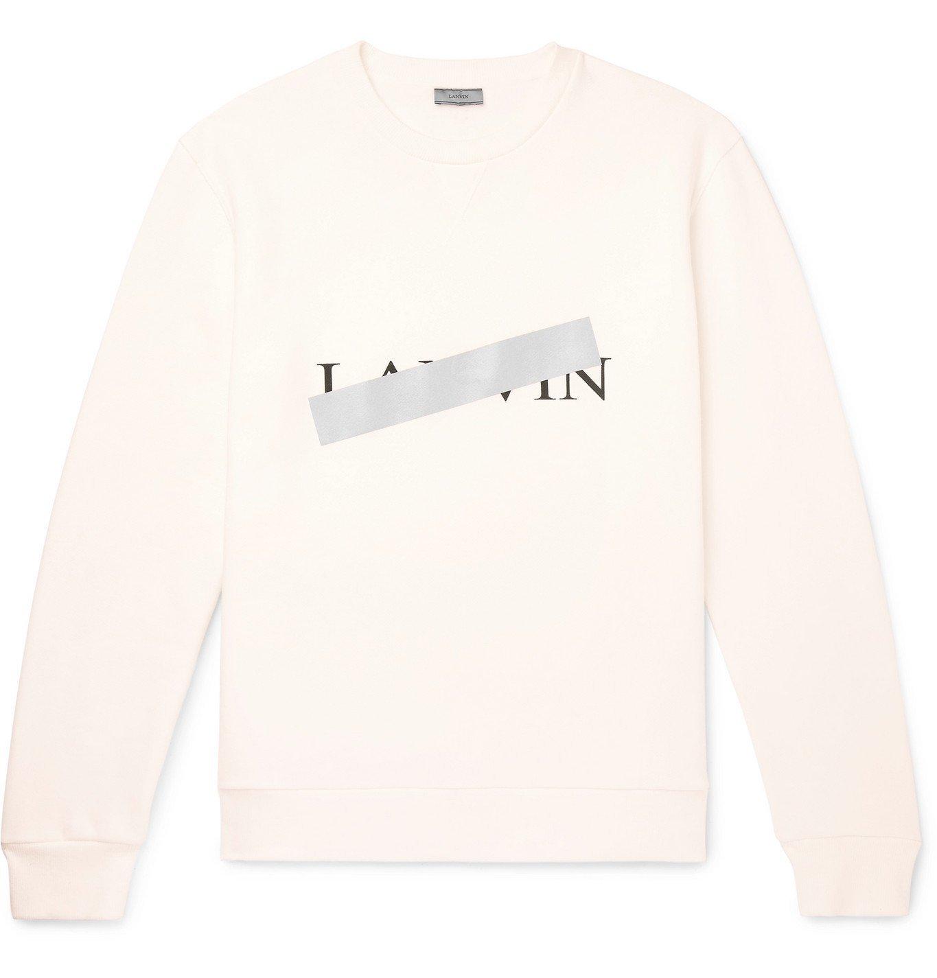 Photo: Lanvin - Reflective-Trimmed Fleece-Back Cotton-Jersey Sweatshirt - White