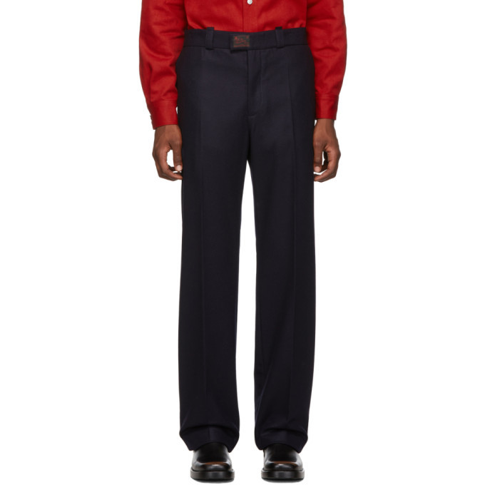 Raf Simons Navy Wool Classic Trousers