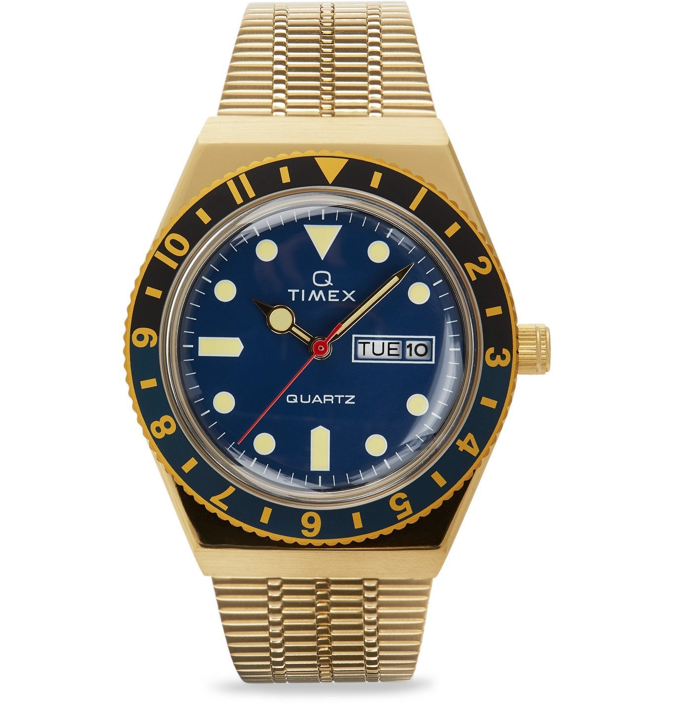 Photo: Timex - Q Timex Reissue 38mm Gold-Tone Stainless Steel Watch - Blue