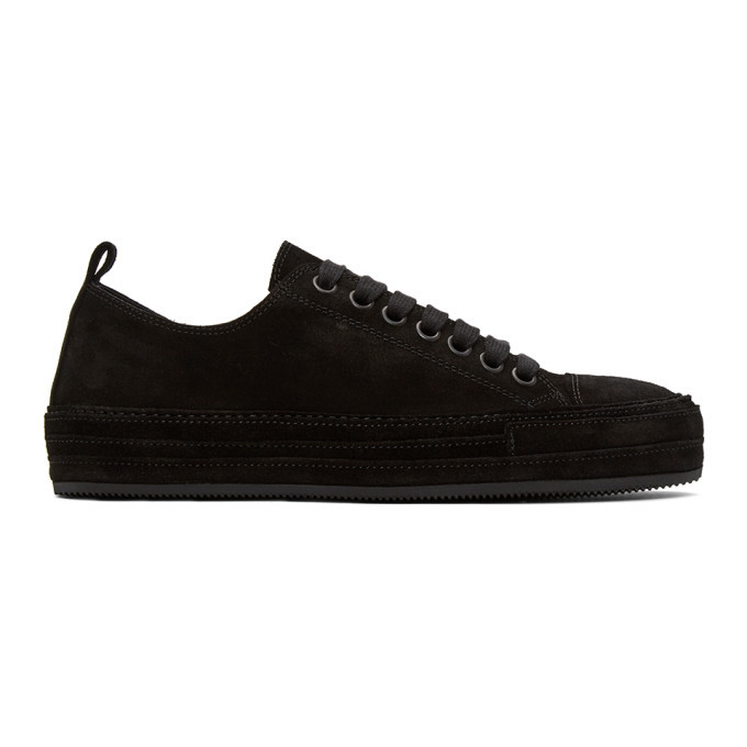 Photo: Ann Demeulemeester Black Distressed Suede Sneakers