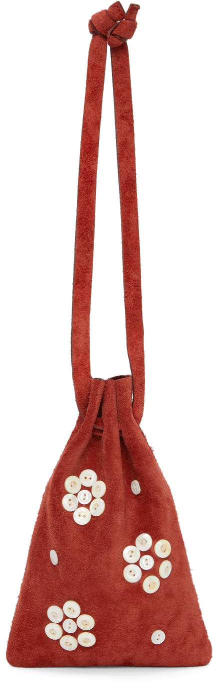 Photo: Bode Red Pearly Flower Cinched Bag
