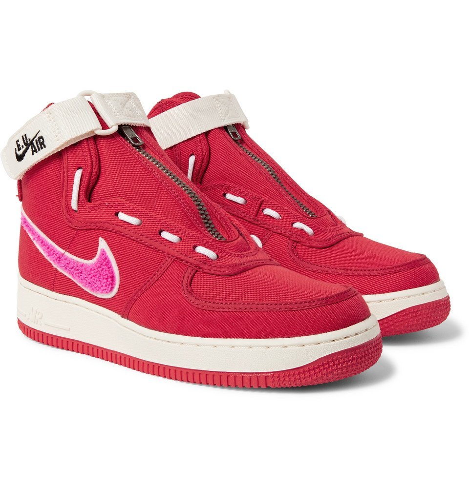 Photo: Nike - Emotionally Unavailable Air Force 1 Zipped Canvas High-Top Sneakers - Red