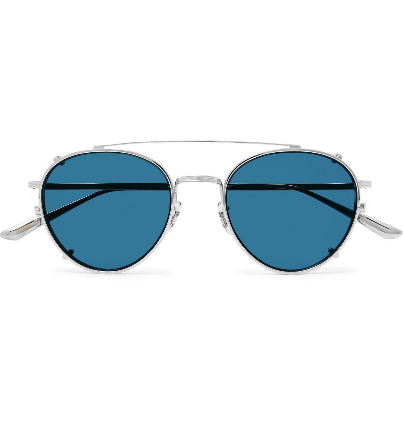 Photo: The Row - Oliver Peoples Brownstone 2 Round-Frame Silver-Tone Titanium Sunglasses - Silver