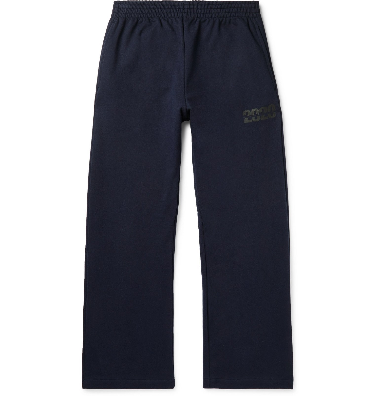 Martine Rose - Wide-Leg Logo-Print Loopback Cotton-Jersey Sweatpants - Blue