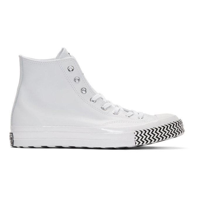 Photo: Converse White Leather Chuck 70 Mission V Hi Sneakers