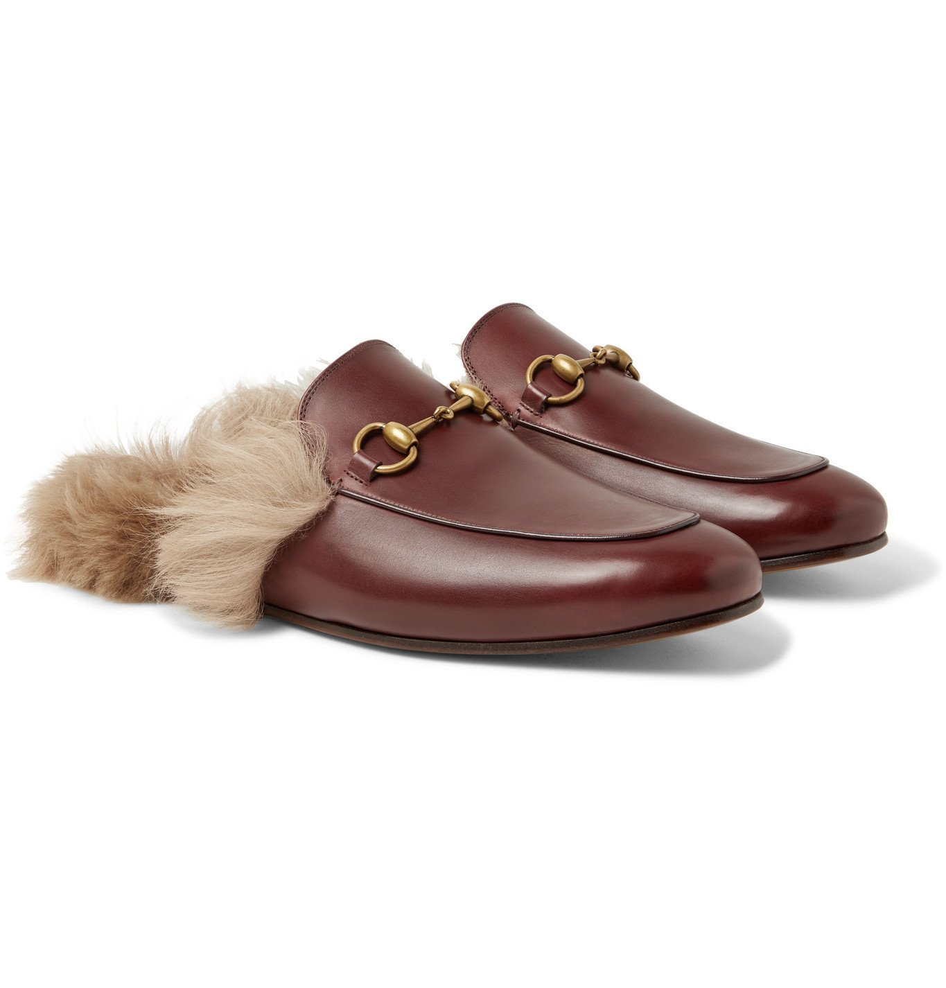 Photo: GUCCI - Princetown Horsebit Shearling-Lined Leather Backless Loafers - Burgundy