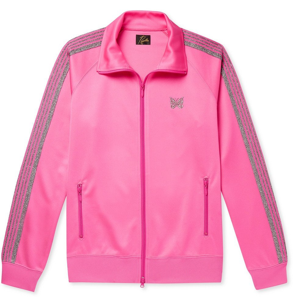Photo: Needles - Glittered Webbing-Trimmed Tech-Jersey Track Jacket - Pink
