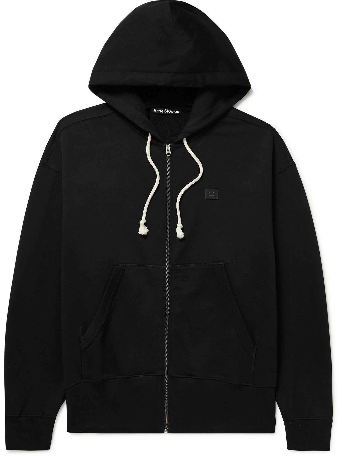 Photo: ACNE STUDIOS - Logo-Appliquéd Cotton-Jersey Zip-Up Hoodie - Black