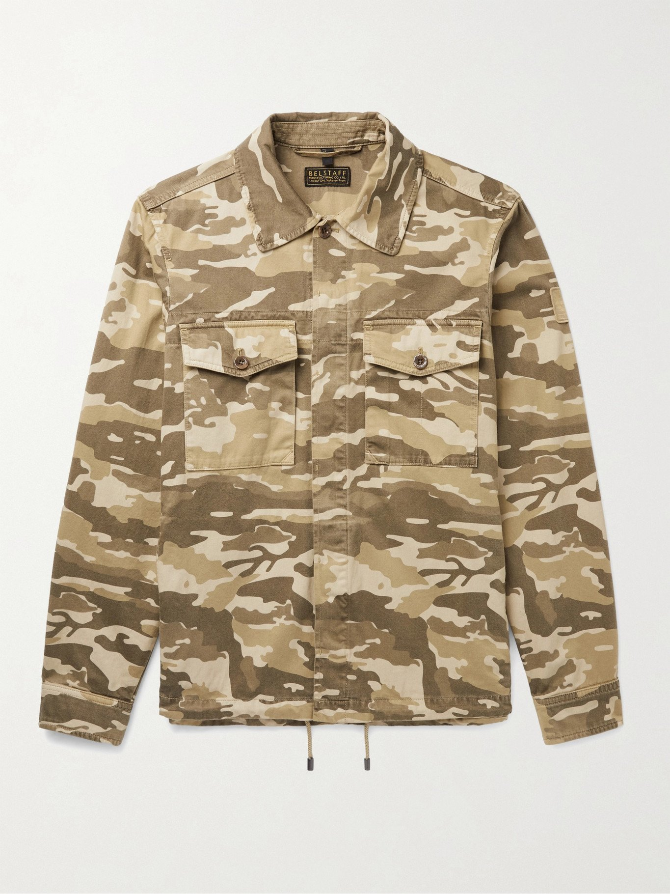 Photo: BELSTAFF - Recon Logo-Appliquéd Waxed Camouflage-Print Cotton-Ripstop Overshirt - Green