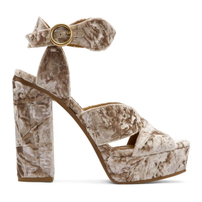 Chloé Pink Velvet Platform Sandals Zn2BknbnF