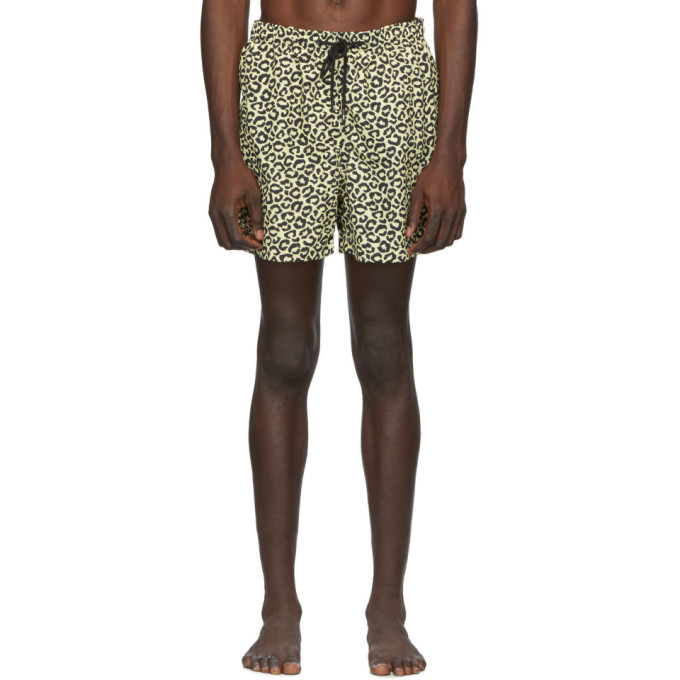 Photo: Solid and Striped Beige and Black Leopard The Classic Swim Shorts
