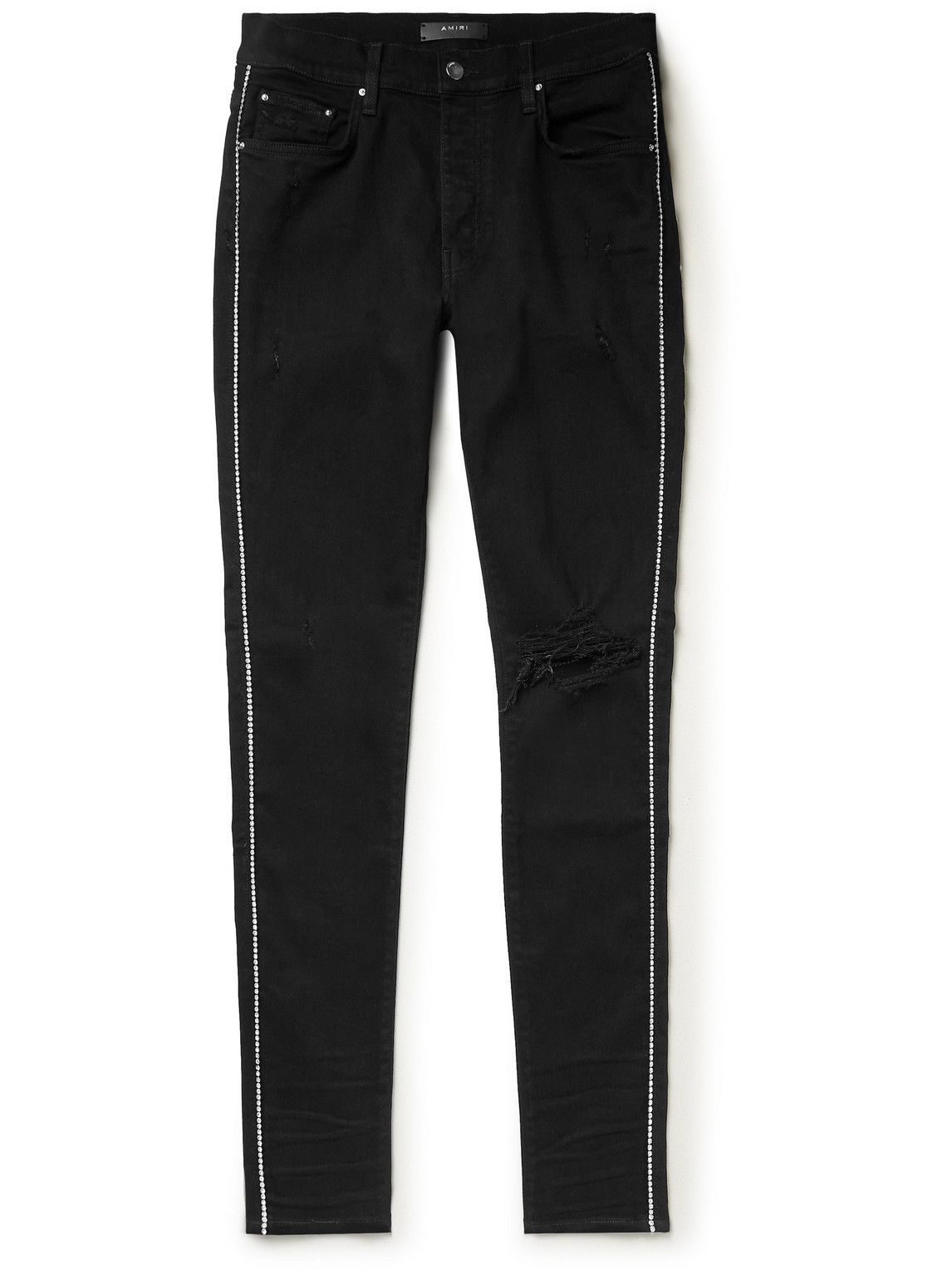 Photo: AMIRI - Skinny-Fit Distressed Crystal-Embellished Jeans - Black
