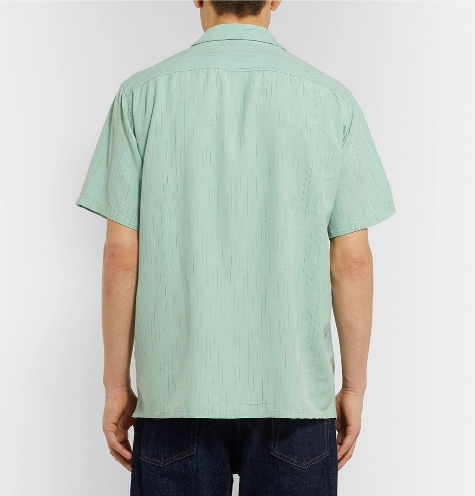 Beams Plus - Camp-Collar Striped Slub Cotton Shirt - Green