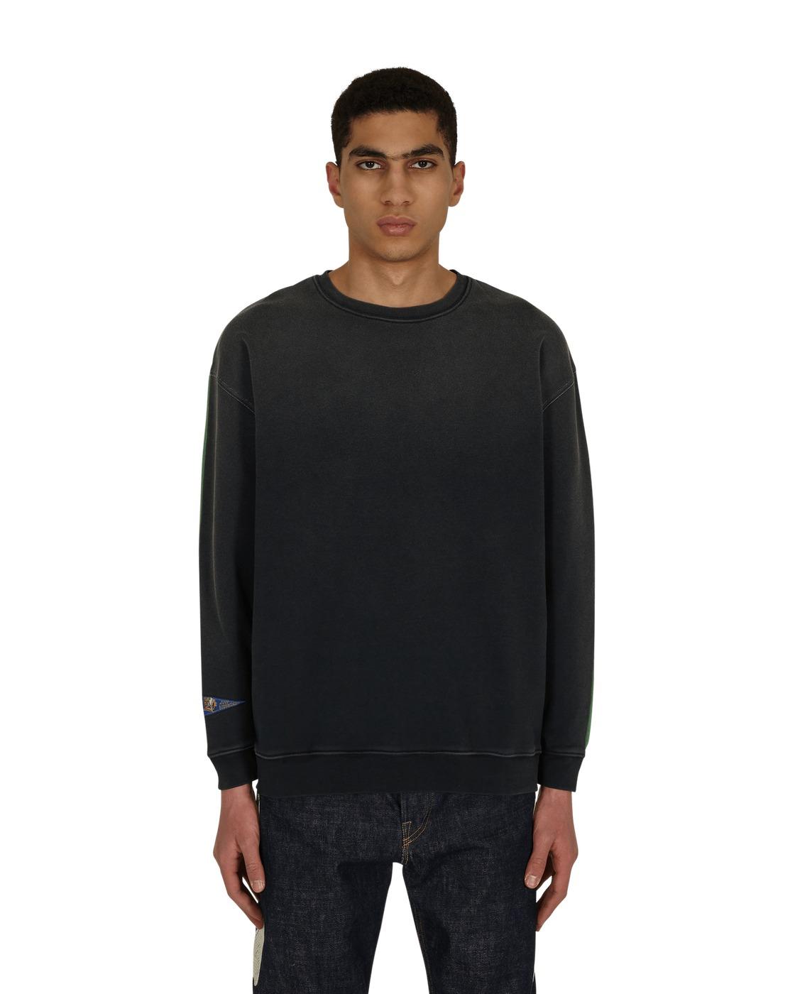 Kapital Fleece Knit 2 Tones Remake Big Crewneck Sweatshirt Blkxgreen