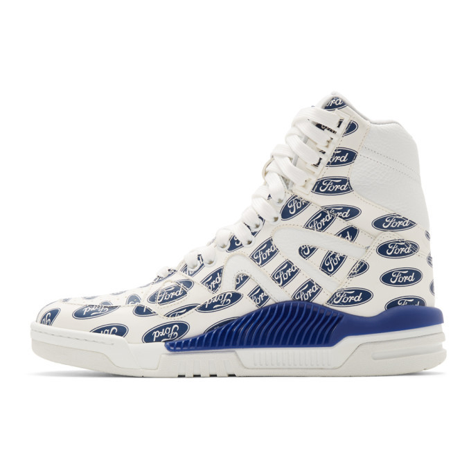Versace White and Blue Ford Edition Logo Sneakers