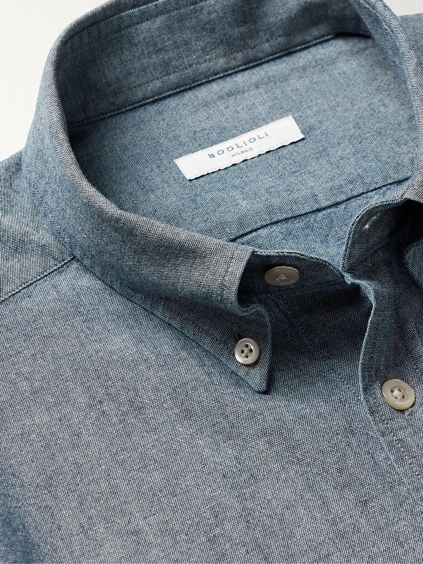 Photo: BOGLIOLI - Slim-Fit Button-Down Collar Cotton-Chambray Shirt - Blue