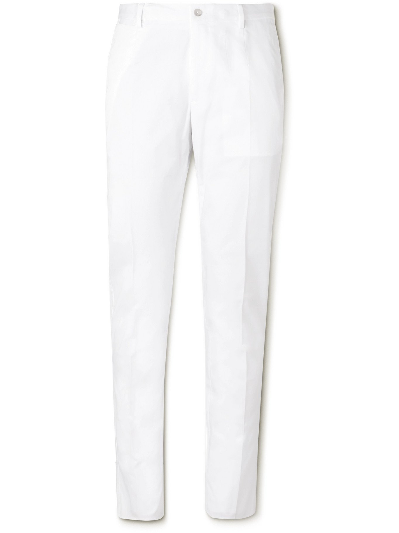 Photo: DOLCE & GABBANA - Stretch-Cotton Poplin Trousers - White - IT 46