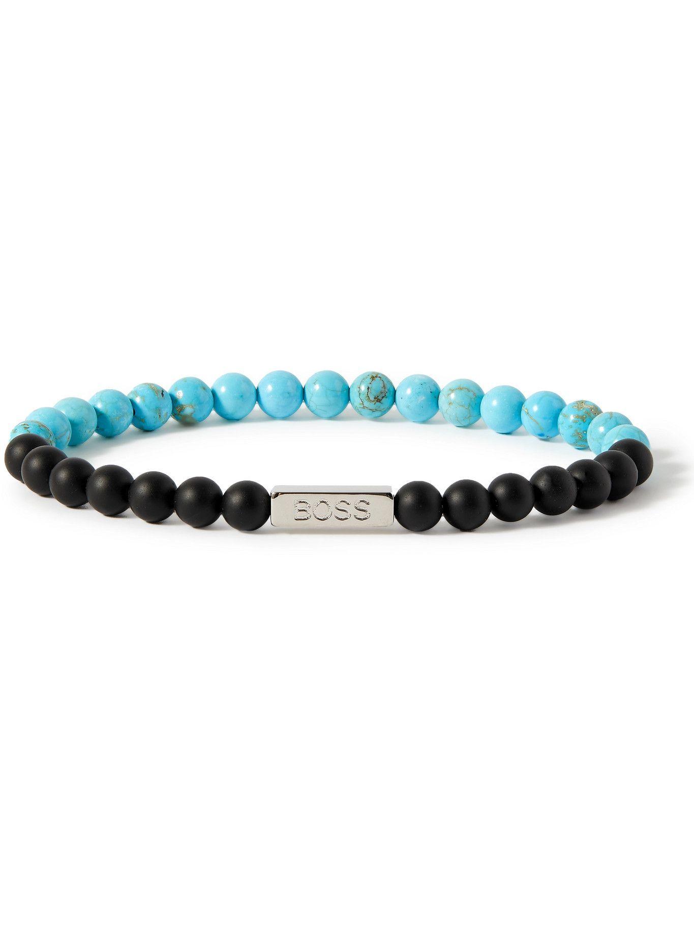 HUGO BOSS - Silver-Tone Agate Beaded Bracelet - Blue