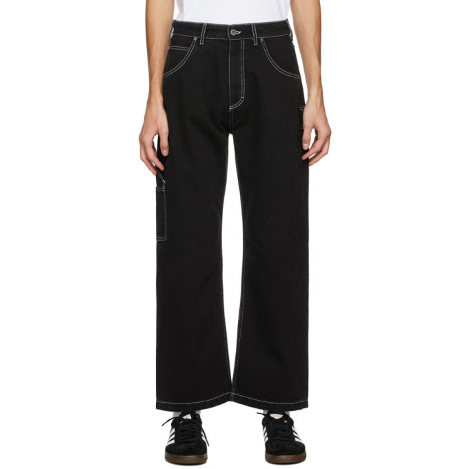Photo: Rassvet Black Contrast Stitch Work Jeans