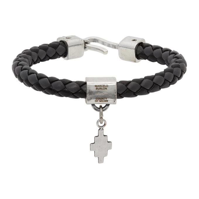Photo: Marcelo Burlon County of Milan Black and Grey Braided Leather Cross Bracelet