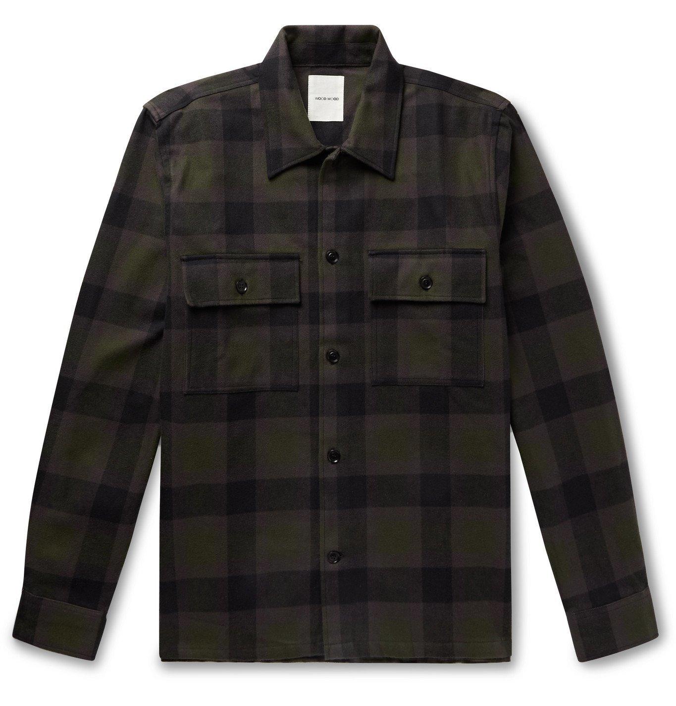 Photo: Wood Wood - Franco Checked Organic Cotton-Flannel Shirt Jacket - Green