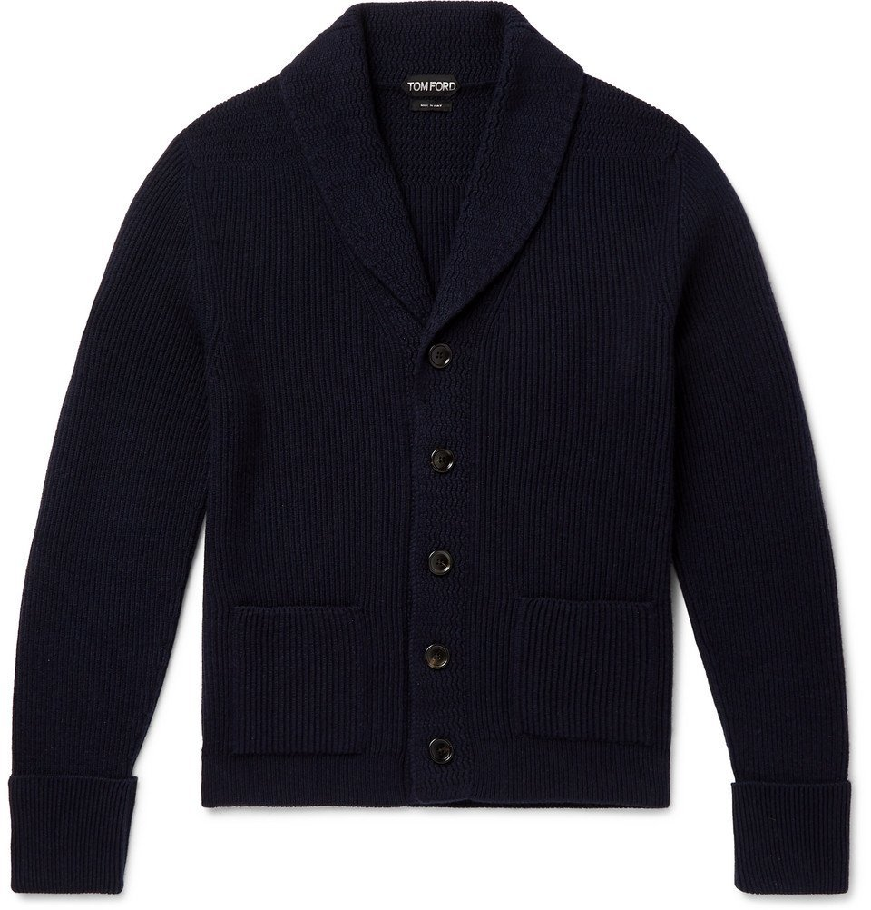 Photo: TOM FORD - Slim-Fit Shawl-Collar Ribbed Cashmere Cardigan - Navy