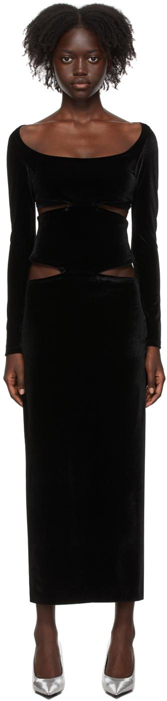 Kathryn Bowen Black Velour Cut-Out Dress