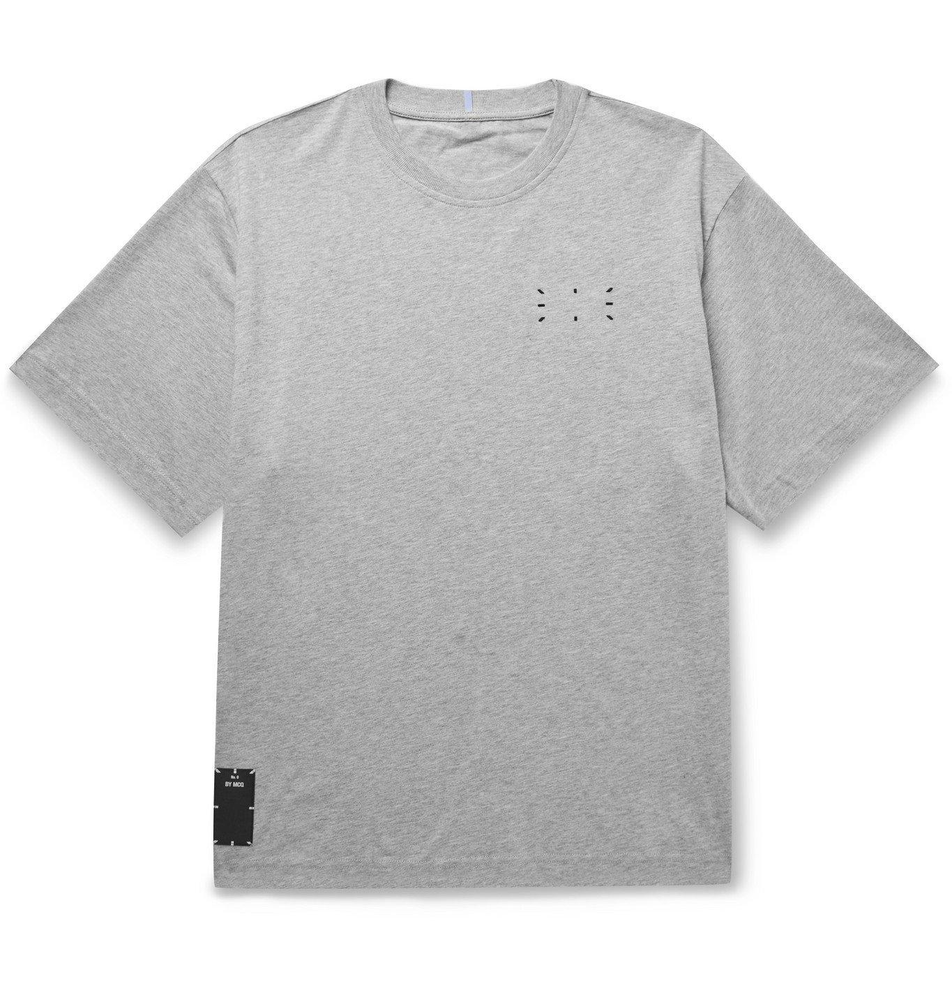 Photo: MCQ - Appliquéd Printed Mélange Cotton-Jersey T-Shirt - Gray