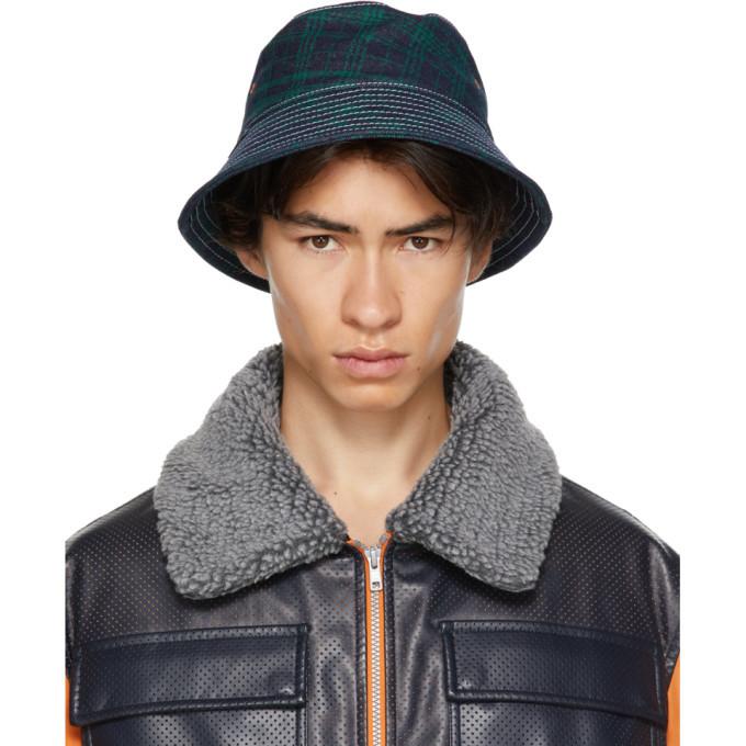 Photo: Rassvet Navy and Green Check Contrast Stitch Bucket Hat