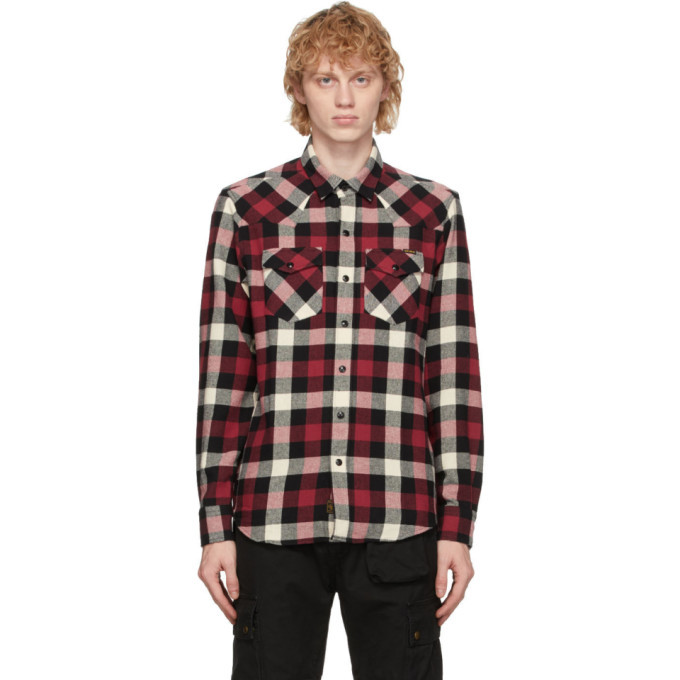 Belstaff Red and White Check Western Shirt