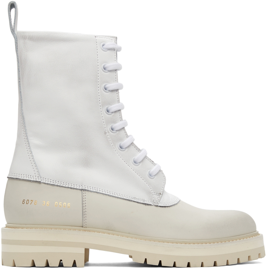Photo: Common Projects White Leather Technical Boots